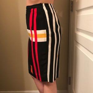 100% Silk Abstract VINTAGE High Waist Skirt
